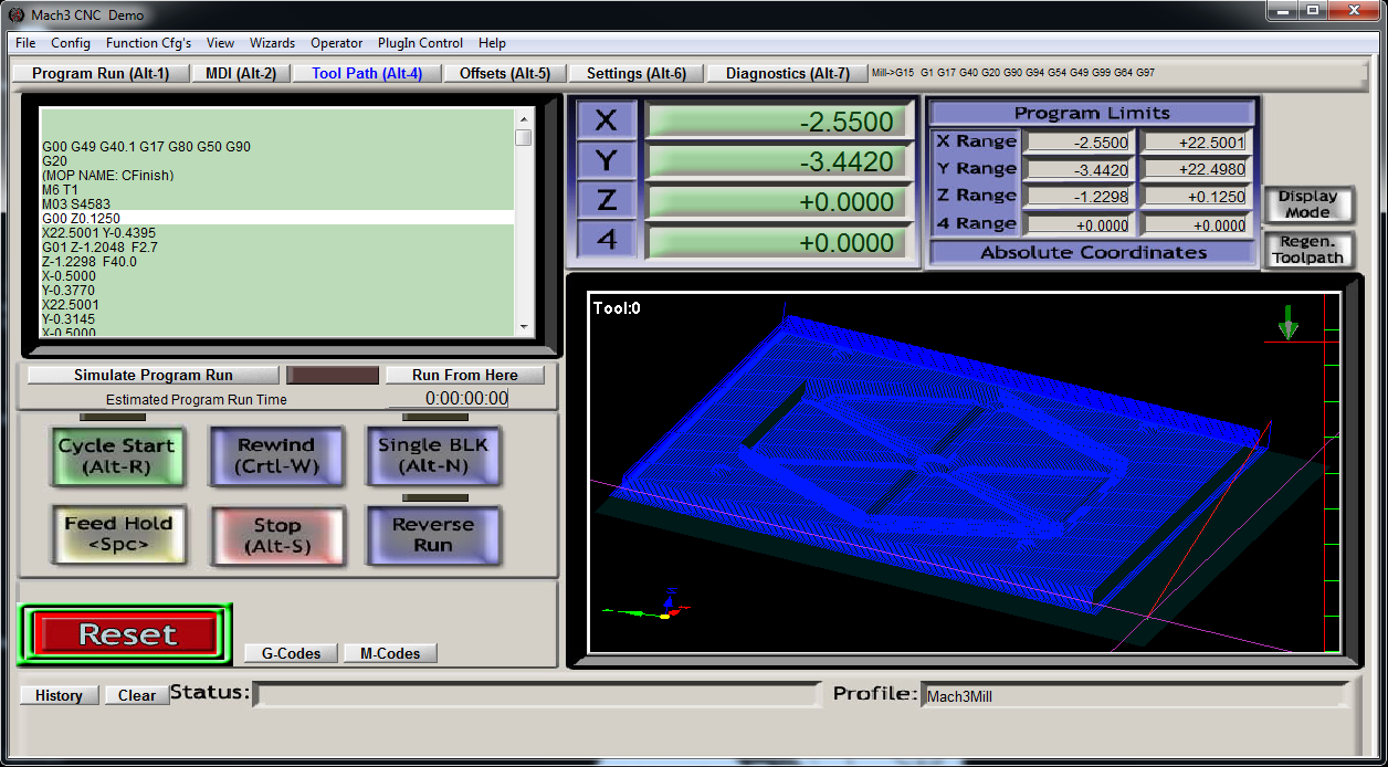 Mach3 cnc control software for windows 32 bit systems - After Regenerating