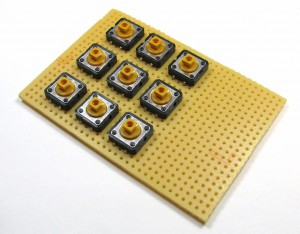 Tactile switches placed on perf board