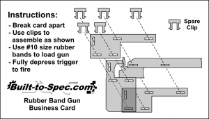 Rubber band gun business card instructions
