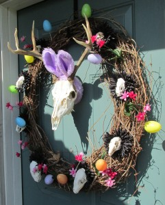 Skull deer wreath with bunny ears